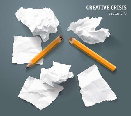 Torn paper lumps broken pencil creative crisis. Color vector illustration  イラスト・ベクター素材