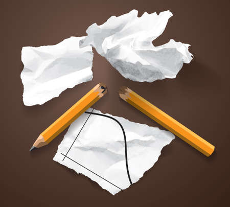 Financial crisis scraps paper chart broken pencil isolated objects. Color vector illustration EPS10