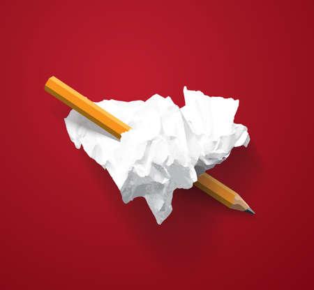 Love heart symbol torn paper lumps pencil. Color vector illustration EPS10