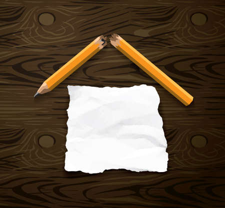 Home house symbol torn paper pencil. Color vector illustration  イラスト・ベクター素材