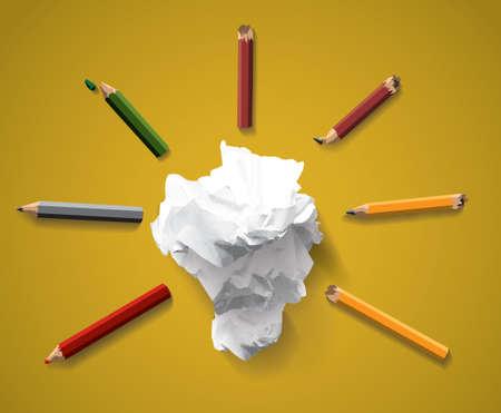 Good idea symbol creativity ligh bulb clumps paper gold
