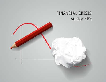 Financial crisis symbol depression business Torn paper 写真素材