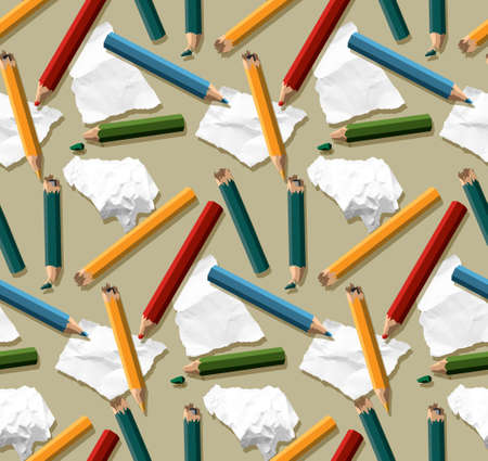 Lamps torn paper pencils seamless art pattern