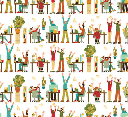Happy Caucasian White People Rejoices Office Seamless Pattern  イラスト・ベクター素材