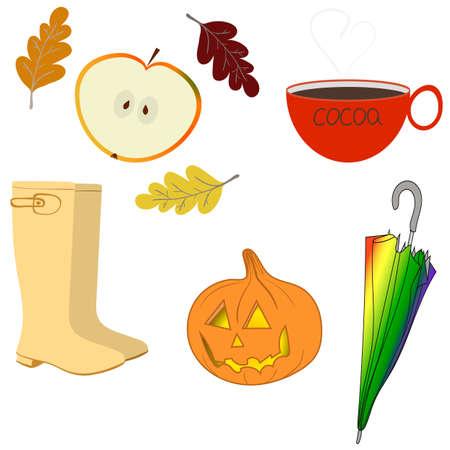 Autumn objects. Rubber boots, apple, umbrella, autumn leaves, cocoa, Halloween pumpkin. Vector