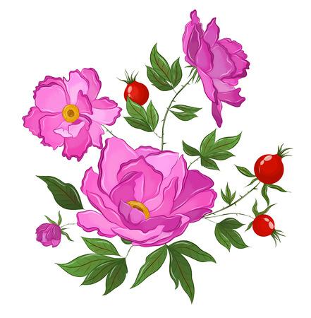 kwitnąca róża z jagodami