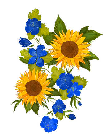 cornflowers and sunflowers bouquet