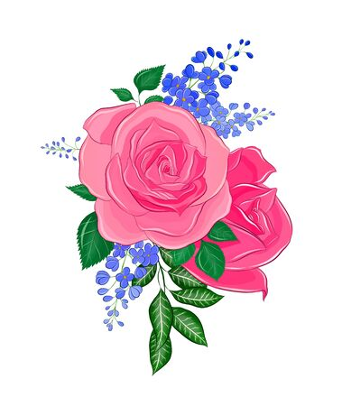 pink roses with blue lilac branches Foto de archivo - 134877029