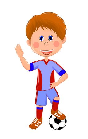 children's illustration of a football player Banque d'images - 134879614