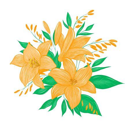 beautiful bouquet of orange lilies 일러스트