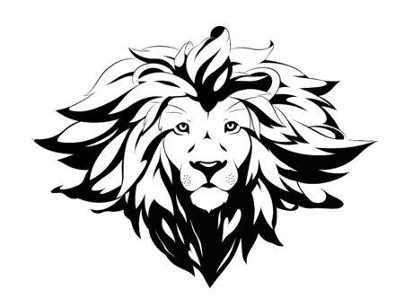 lion black and white tattoo vector Vettoriali