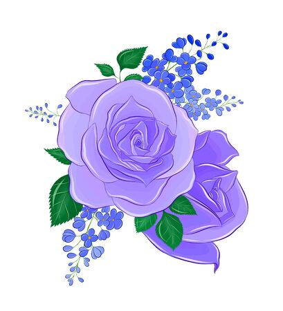 blue roses with blue lilac branches
