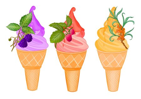 set of colored ice cream with berries