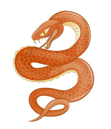 evil poisonous brown snake vector Ilustrace