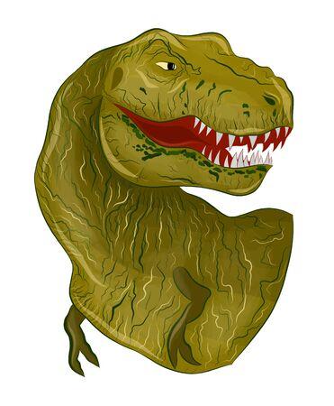 green dinosaur Tyrannosaurus angry reptile