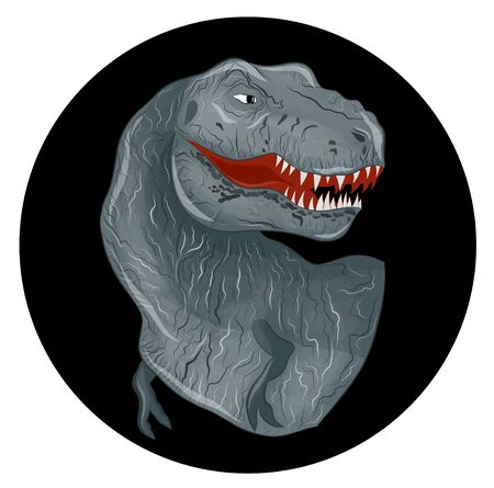 gray dinosaur Tyrannosaurus angry lizard on black background