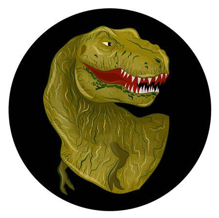 green dinosaur Tyrannosaurus angry reptile on black background