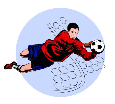 football goalkeeper in blue and red uniform