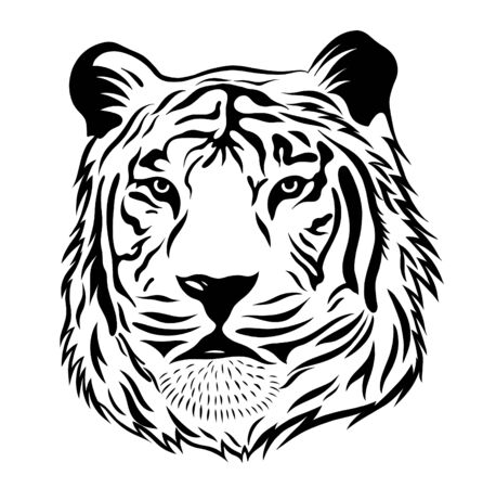 tiger head black and white graphics