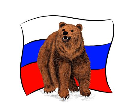 the flag of Russia and the brown bear symbol Illusztráció