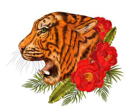 head tiger profile orange black realism vector Ilustracja