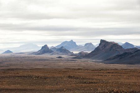 Mountains landscape near Langjokull glacier, Central Iceland 스톡 콘텐츠