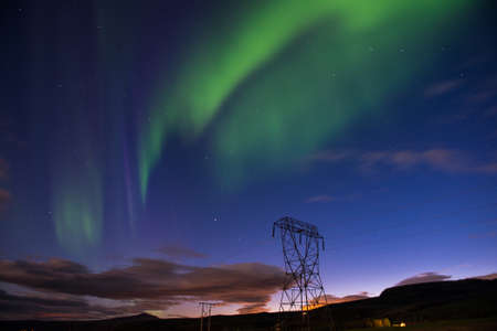 Green Aurora borealis or Northern lights, Iceland Reklamní fotografie