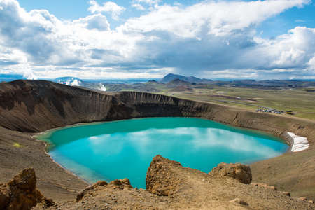 Volcano crater Viti with turquoise lake inside, Krafla volcanic area, Iceland Reklamní fotografie