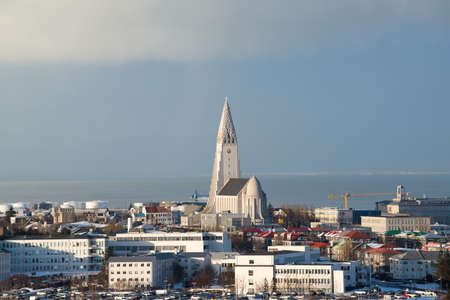 Aerial view from Perlan to Hallgrimskirkja church and Reykjavik city center, Iceland