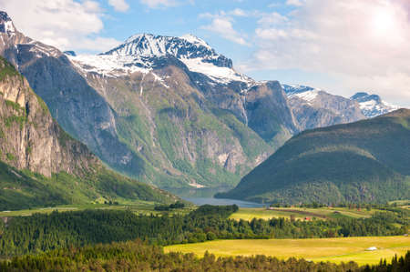 Beautiful landscape with mountains and lake, Norway 写真素材