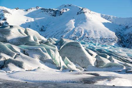 The blue ice of the Skaftafellsjokull glacier in winter, Iceland 版權商用圖片