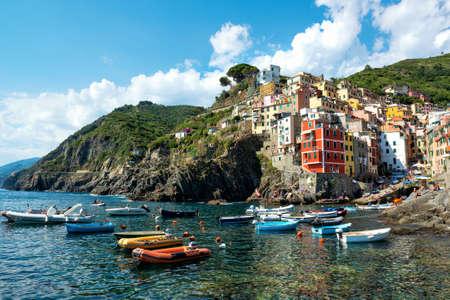 Colorful houses of Riomaggiore, Cinque Terre National Park, Liguria, La Spezia, Italy Imagens