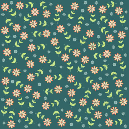 sea green: Background with flowers on sea green Illustration