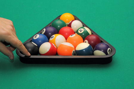 pool game: The start of the game of pool (billiard). Episode of pool game play