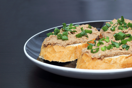pate: sandwich with liver pate with green onion Stock Photo