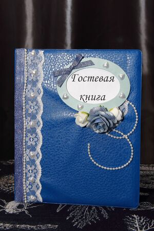 wedding guest: Blue and white decorated wedding guest book Stock Photo