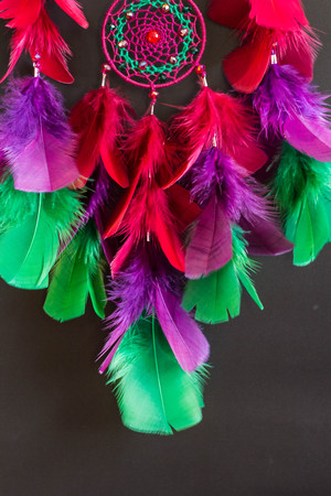 talisman: Colorful Dreamcatcher made of feathers leather beads and ropes, hanging, handmade