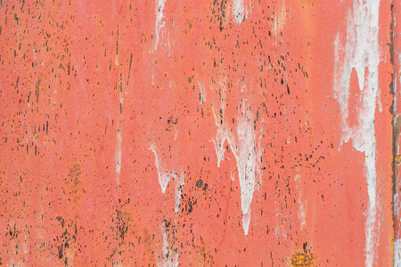 Corroded metal background. Rusted painted metal wall corrosion with streaks of rust Stock Photo