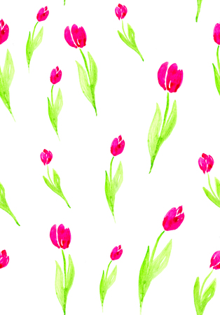 Seamless pattern with flowers on a white background. Watercolor illustration of pink tulips.
