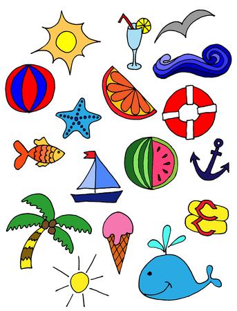 Cute pattern with summer symbols. sun, cocktail, sea. hand-drawn illustration Illustration