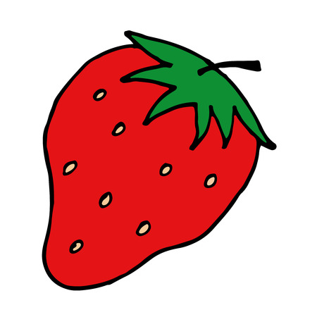 white fabric texture: Color Strawberry vector doodle summer hand-drawn picture.