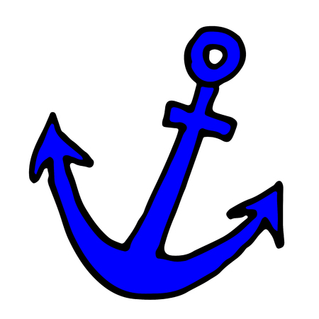 doodle icon of anchor. color hand drawn vector illustration.