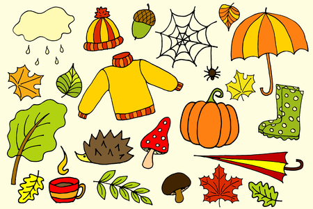 手描きスケッチ ベクトル落書き漫画オブジェクトと秋のシンボルのセット。