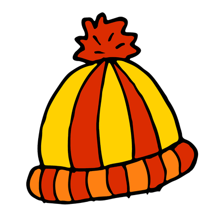 winter hat doodle cartoon sketch vector illustration
