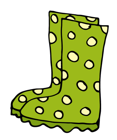 Stylish rubber boots icon in cartoon style isolated on white background vector illustration Illustration