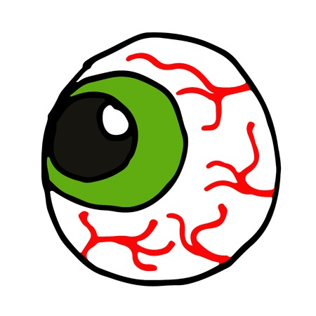 Cartoon hand drawn doodle eye on a white background vector illustration.