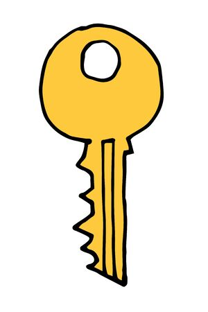 antiquarian: Vector hand drawn doodle vintage keys collection. Isolate design elements on white background. Illustration