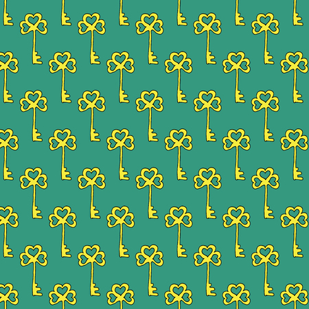 Vector illustration Hand drawn doodle seamless background with hand drawn keys. Pattern for wrapping, wallpaper and textile design.