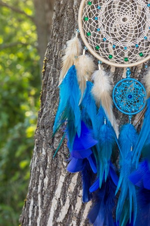 talisman: Dream catcher with feathers threads and beads rope hanging. Dreamcatcher handmade