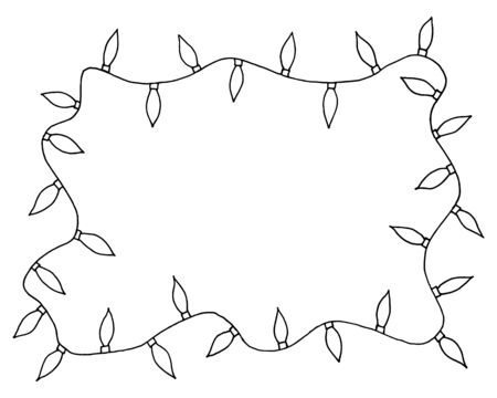 christmas backgrounds: Sketchy frames illustration. Hand drawn festive christmas lights with place for your text in the center.